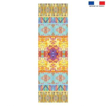 Coupon 45x150 cm tissu imperméable motif summer jaune et rose pour transat - Création Lita Blanc
