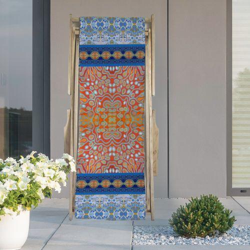 Coupon 45x150 cm tissu imperméable motif rayures abstraites bleues et rouges pour transat - Création Lita Blanc