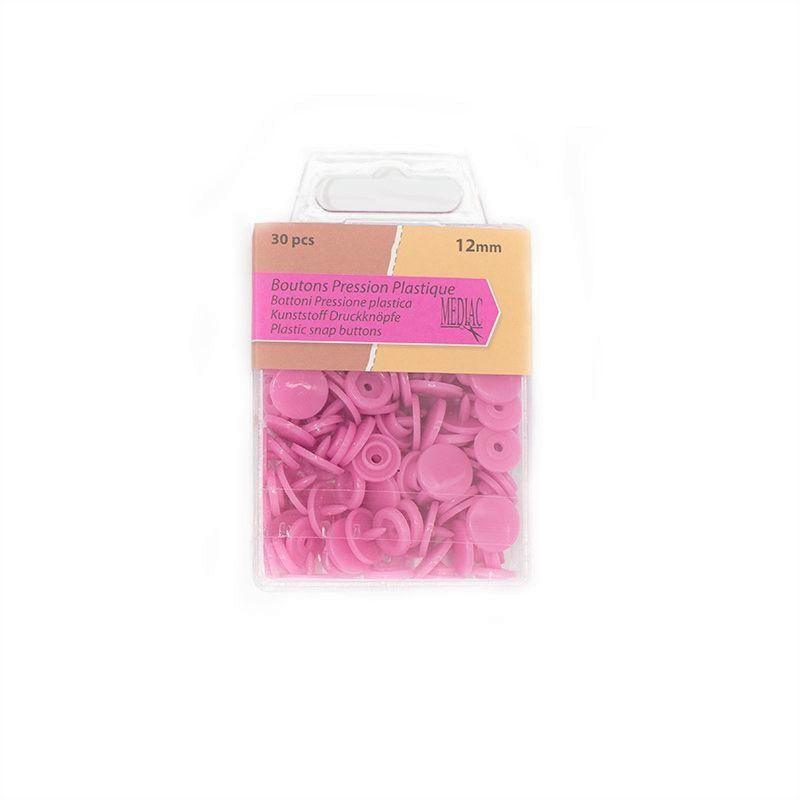 Boutons pression plastique x30 rose