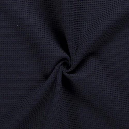 Tissu nid d'abeille uni bleu marine