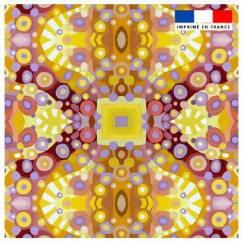 Coupon 45x45 cm multicolore motif sphères - Création Lita Blanc