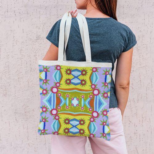 Coupon 45x45 cm violet motif triangle et cercle - Création Lita Blanc