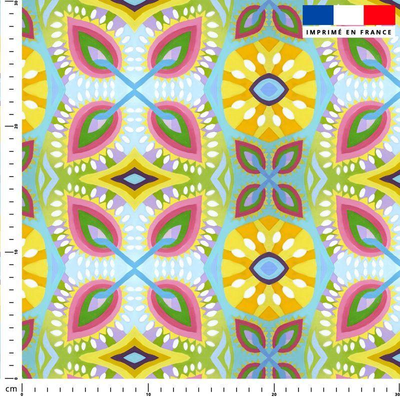 Fleurs géométriques - Fond bleu ciel - Création Lita Blanc