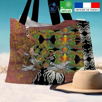 Kit sac de plage imperméable motif diva et oiseaux - King size - Création Lita Blanc