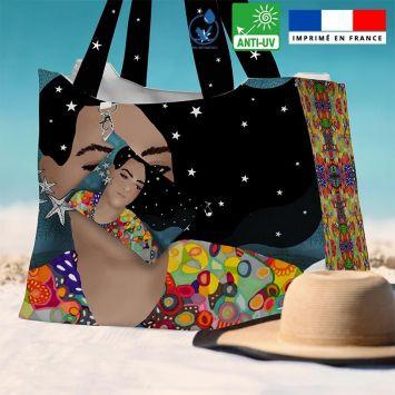 Kit sac de plage imperméable motif diva et étoiles - King size - Création Lita Blanc