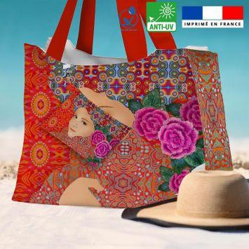 Kit sac de plage imperméable motif diva et fleur rose - King size - Création Lita Blanc