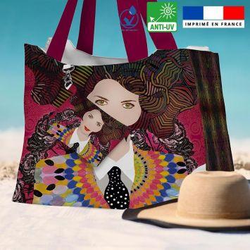Kit sac de plage imperméable motif diva et cravate - King size - Création Lita Blanc
