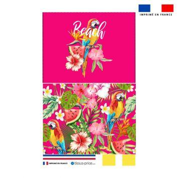 Kit pochette fuchsia motif perroquet exotique