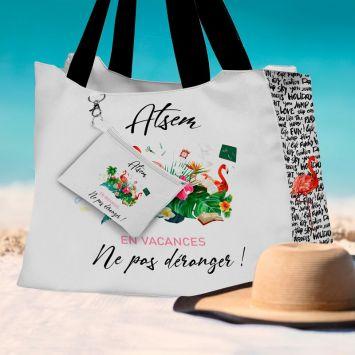 Kit sac de plage imperméable motif ATSEM en vacances - Queen size