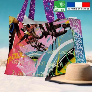 Kit sac de plage imperméable motif graffiti portrait x love - King size - Création Alex Z