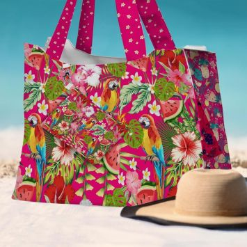 Kit sac de plage imperméable fuchsia motif perroquet exotique - Queen size
