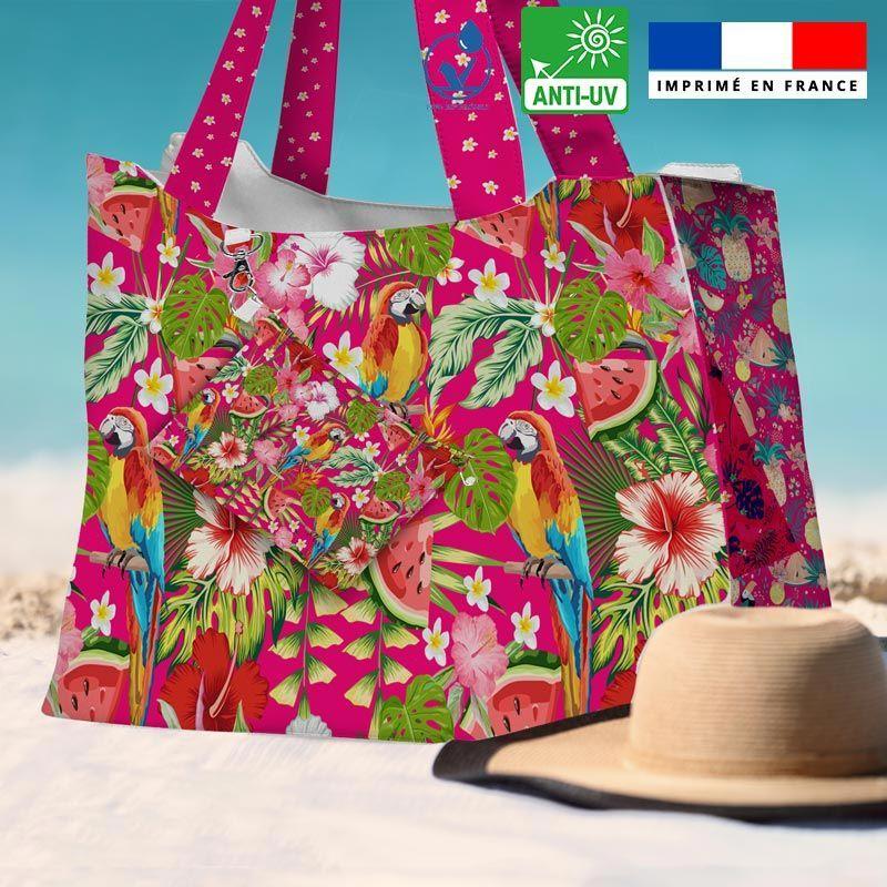 Kit sac de plage imperméable fuchsia motif perroquet exotique - King size