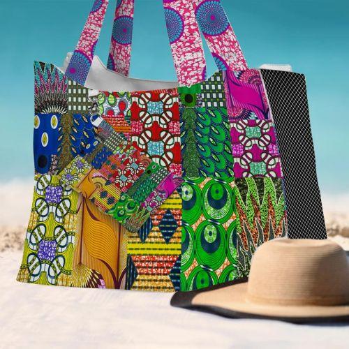 Kit sac de plage imperméable motif wax patchwork - King size