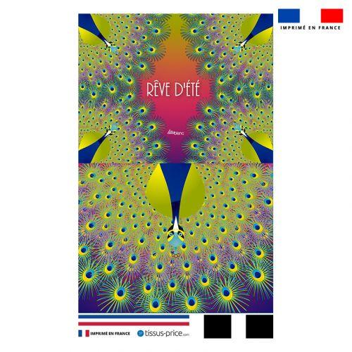 Kit pochette motif paon rêve d'été - Création Lita Blanc