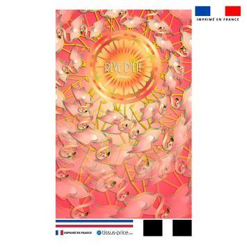 Kit pochette rose motif flamant rêve d'été - Création Lita Blanc