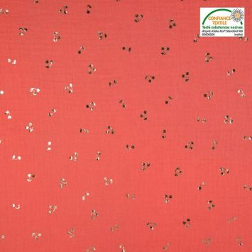 Double gaze corail motif cerise brillante rose gold Oeko-Tex