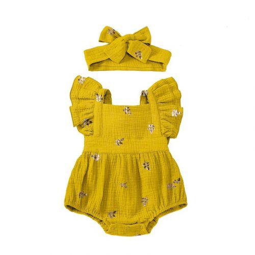 Double gaze jaune motif feuille brillante rose gold Oeko-Tex