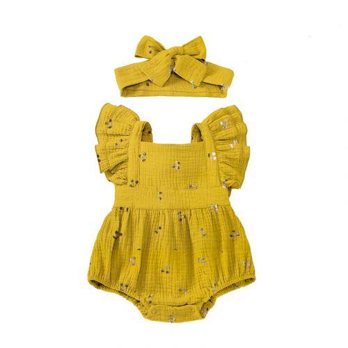 Double gaze jaune motif cerise brillante rose gold Oeko-Tex