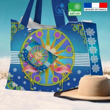 Kit sac de plage imperméable bleu motif duo de flamants roses - Queen size - Création Lita Blanc