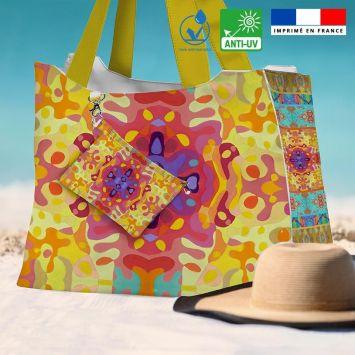 Kit sac de plage imperméable motif summer jaune et rose - Queen size - Création Lita Blanc
