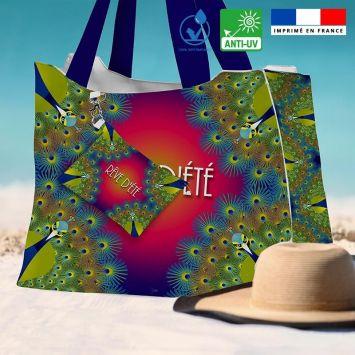 Kit sac de plage imperméable motif paon rêve d'été - Queen size - Création Lita Blanc