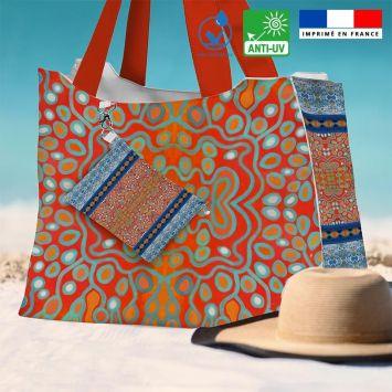Kit sac de plage imperméable motif rayures abstraites bleues et rouges - King size - Création Lita Blanc