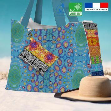 Kit sac de plage imperméable motif bandes colorées - Queen size - Création Lita Blanc