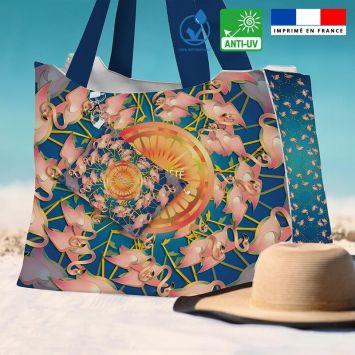 Kit sac de plage imperméable bleu motif flamant rêve d'été - King size - Création Lita Blanc