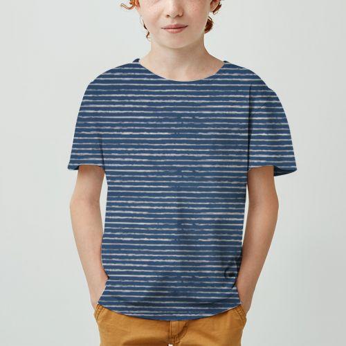 Jersey bleu jean motif bande blanche