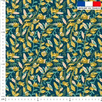 Coccinelle et oiseau - Fond bleu - Création Julia Amorós