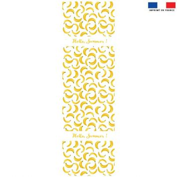Coupon 45x150 cm tissu imperméable beige motif Hello Summer banane pour transat