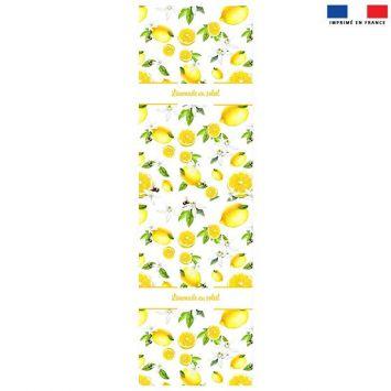 Coupon 45x150 cm tissu imperméable blanc motif Limonade au soleil et citron pour transat