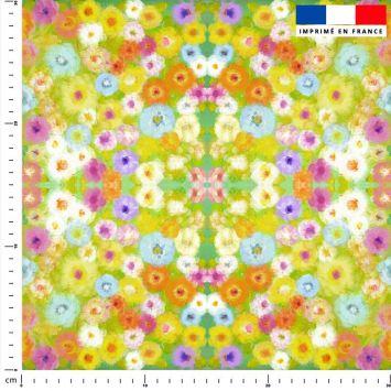 Fleurs effet peinture - Fond multicolore - Création Lita Blanc