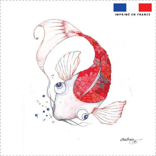 Coupon toile canvas carpe rouge - Création Audrey Baudo