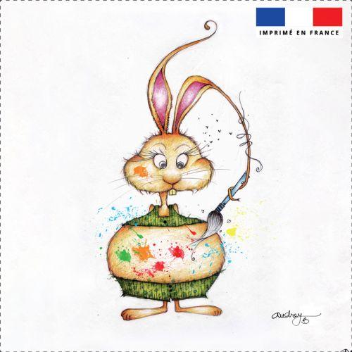 Coupon toile canvas lapin peinture - Création Audrey Baudo