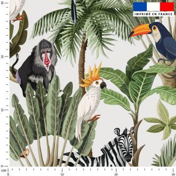 coupon - Coupon 500cm - Jungle et animaux - Fond écru - Satin 110 gr/m² - 150 cm