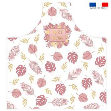 Patron imprimé sur canvas pour tablier motif best mom pink & gold
