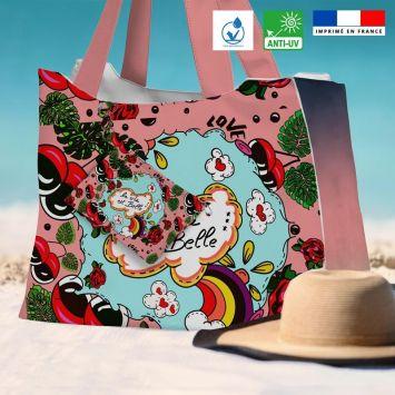 Kit sac de plage imperméable rose motif la vie est belle - Queen size - Création Anne-Sophie Dozoul