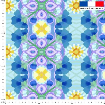 Goutte violette - Fond bleu - Création Lita Blanc