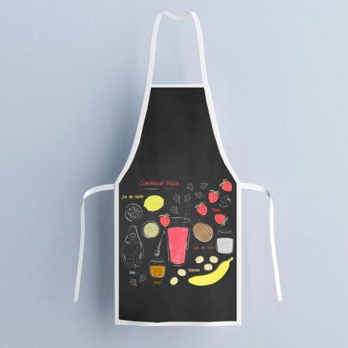 Patron imprimé sur canvas pour tablier motif smoothie fraise