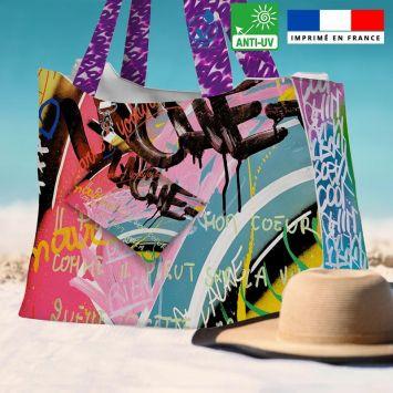 Kit sac de plage imperméable motif graffiti portrait x love - Queen size - Création Alex Z