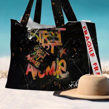 Kit sac de plage imperméable motif street art avenue - Queen size - Création Alex Z