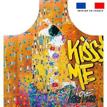 Patron imprimé sur canvas pour tablier motif graffiti kiss me - Création Alex Z