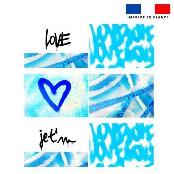 Coupon velours d'habillement pour tour de lit motif graffiti bleu - Création Alex Z