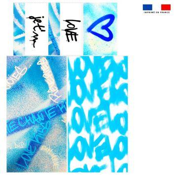 Coupon velours d'habillement pour vide-poches motif graffiti bleu - Création Alex Z