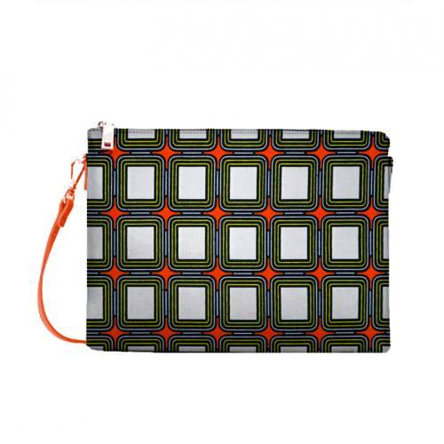 coupon - Coupon 90cm - Wax - Tissu africain orange motif carreau blanc 415