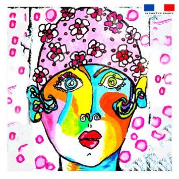 Coupon 45x45 cm motif femme moderne et bonnet rose - Création Razowsky