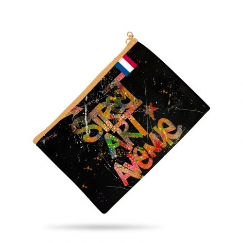 Kit pochette noire motif street art avenue - Création Alex Z