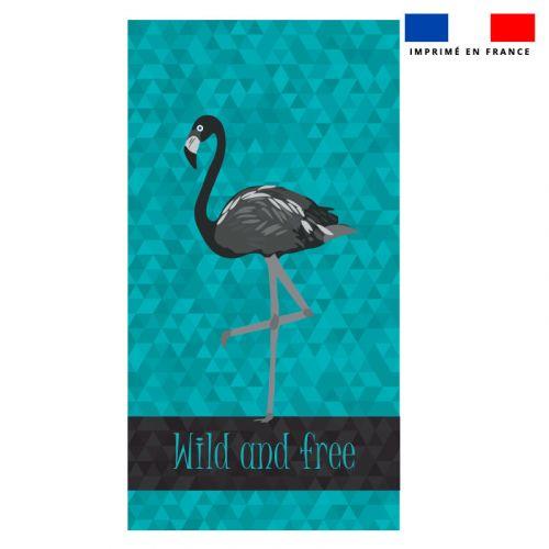 Coupon éponge pour serviette de plage simple bleu motif flamant wild and free