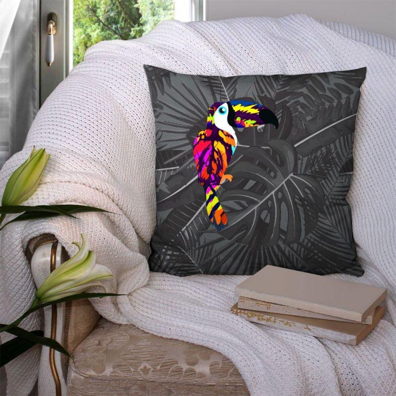 Coupon 45x45 cm noir motif toucan et feuille tropicale